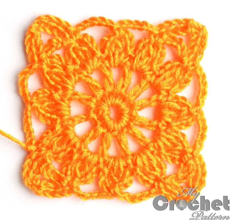 square orange flower motif photo 2