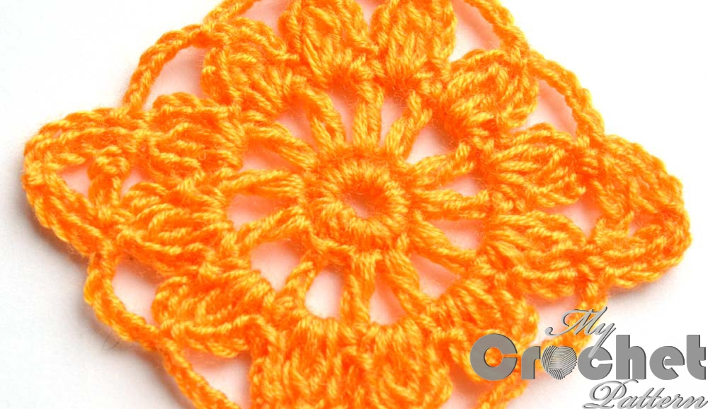 square orange flower motif photo 3