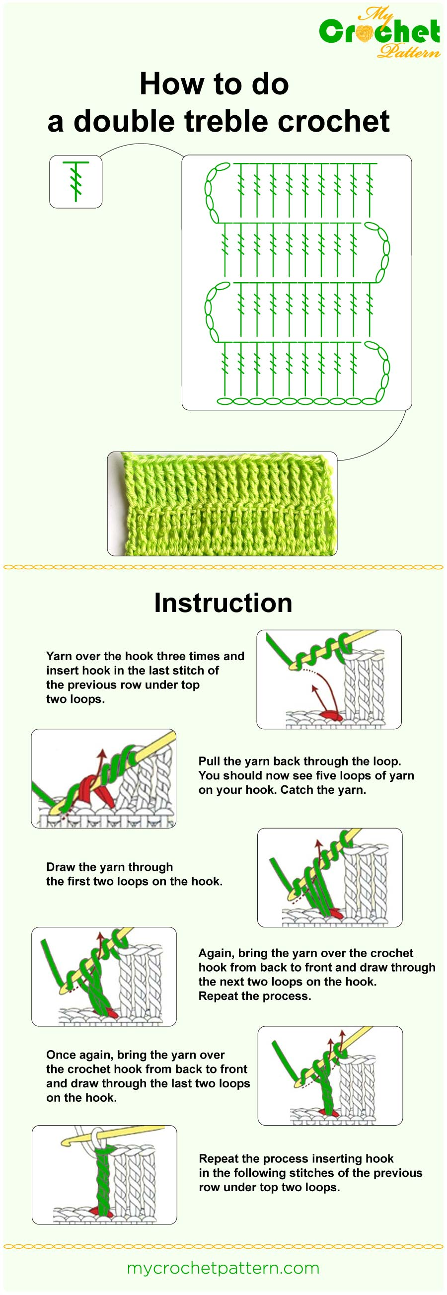 how to do a double treble crochet -infographic