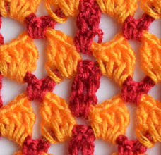 orange lace pattern red stripes