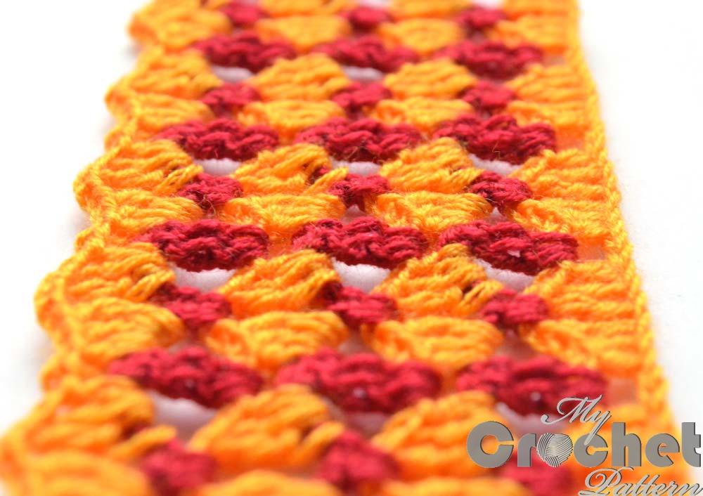 orange lace pattern red stripes close photo