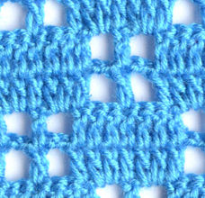 blue filet pattern little squares