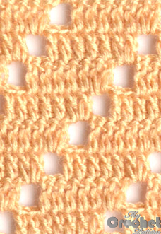 light brown filet pattern with squares