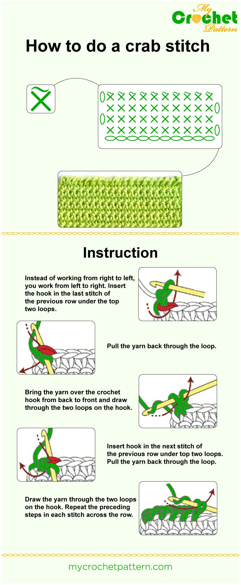 how to do a crab stitch - infographic