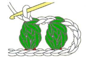 3 dc cluster in 1 chain stitch - step 7