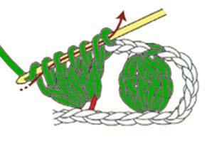 5 dc cluster in 1 chain stitch - step 2