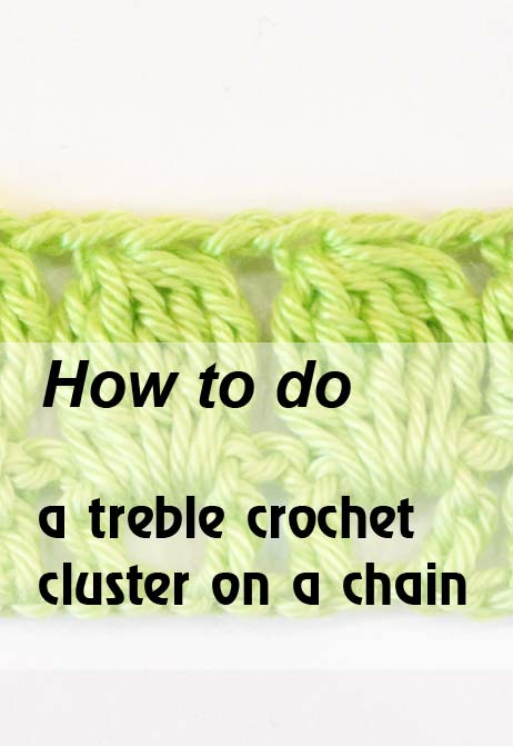 5 treble crochet cluster on a chain - preview