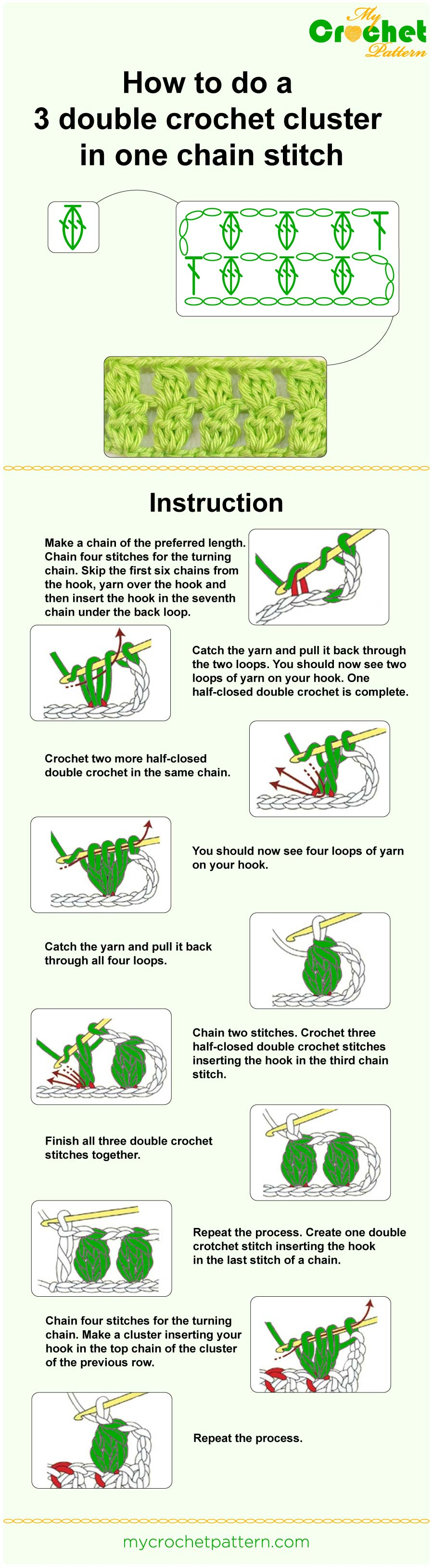how to do a 3 double crochet cluster in one chain stitch - infographic