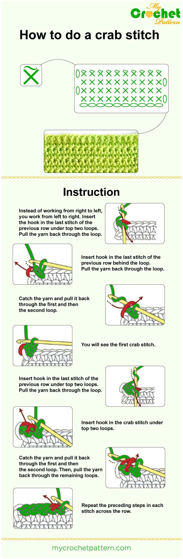 how to do a crab stitch (method 2) - infographic
