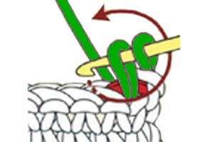 twisted single crochet - step 1