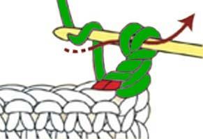 twisted single crochet - step 2