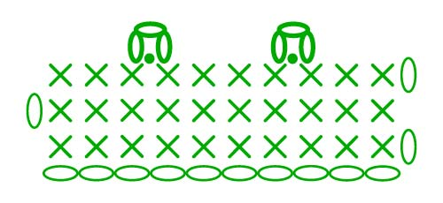 chain 3 picot - stitches scheme