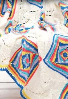 crochet baby blanket with multicolor square motifs - preview