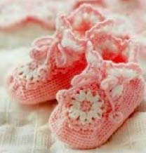fancy crochet baby booties pattern - big photo