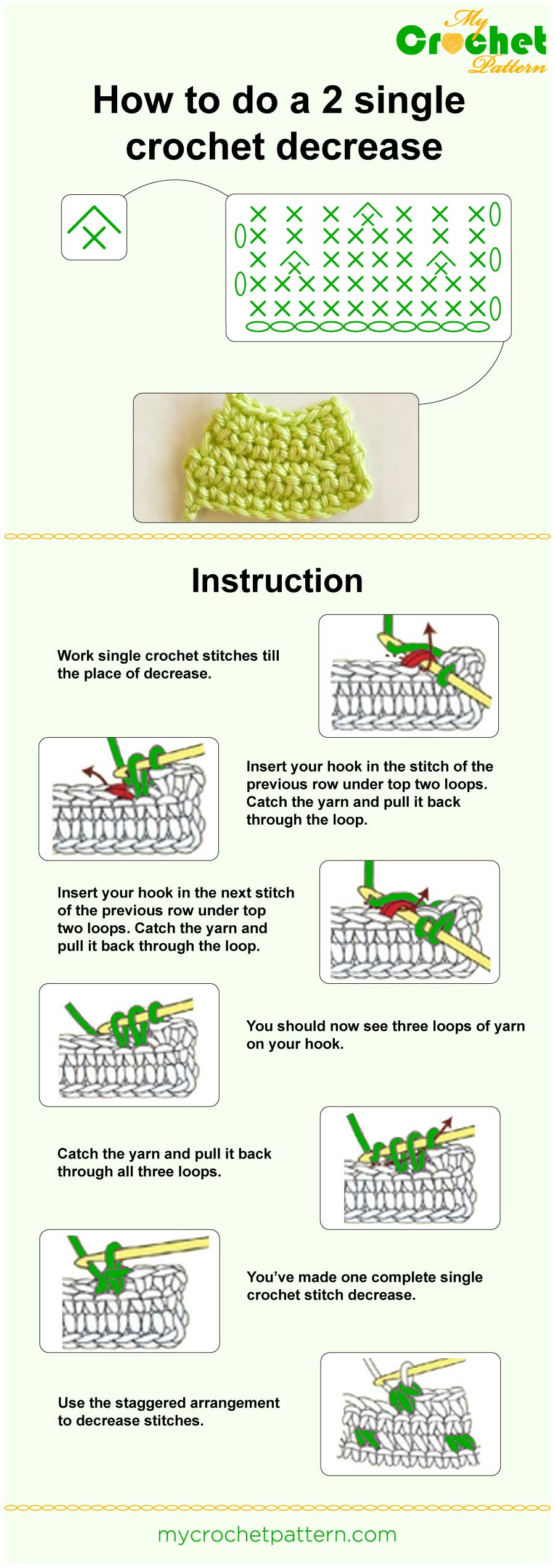 how to do a 2 sc decrease - infographic