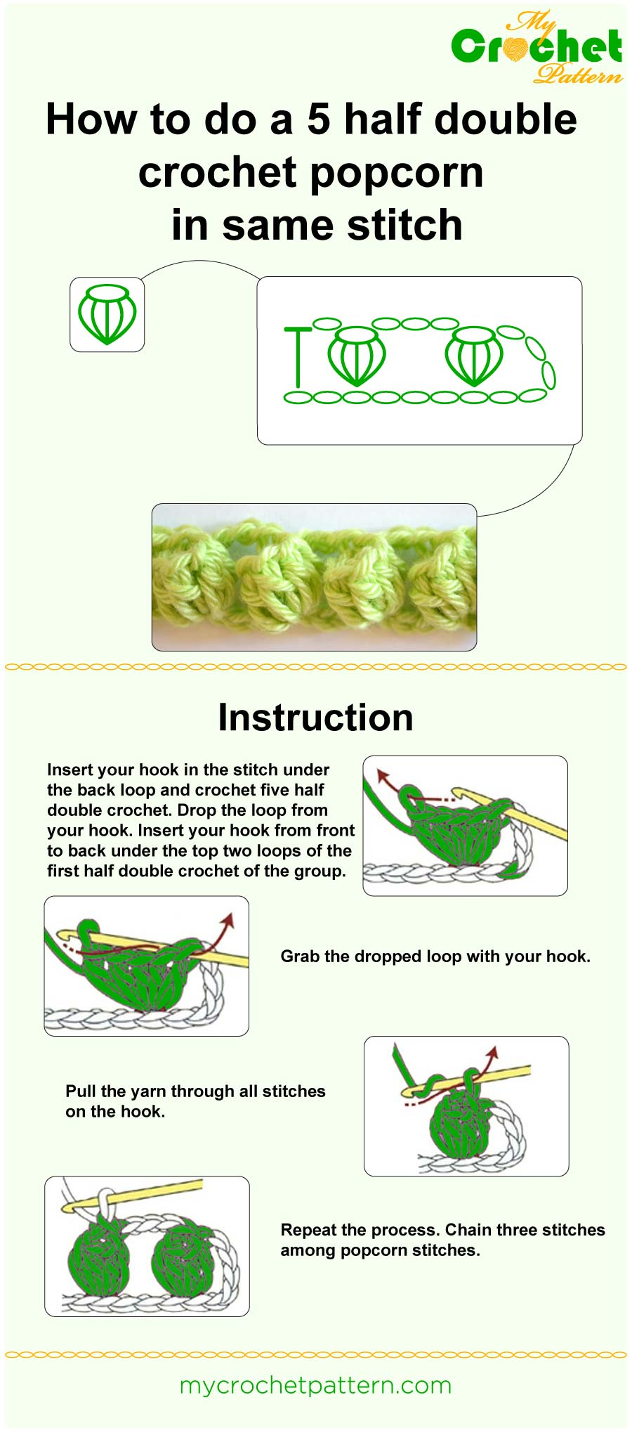 how to do a 5 half double crochet popcorn in same stitch - infographic