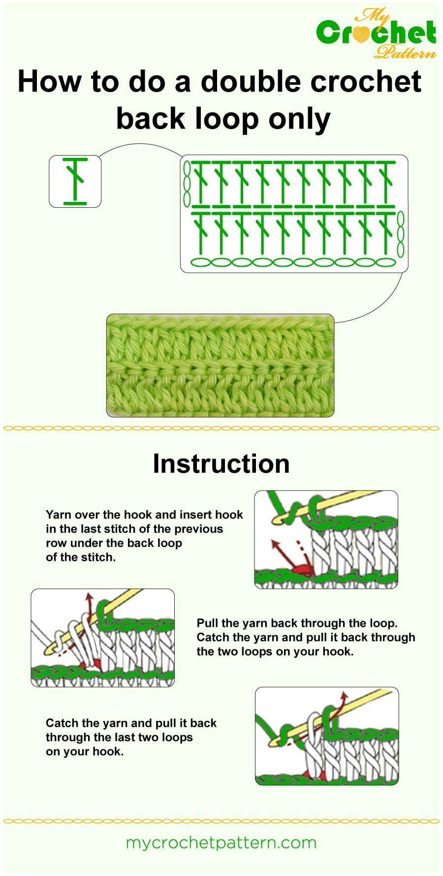 how to do a double crochet back loop only - infographic