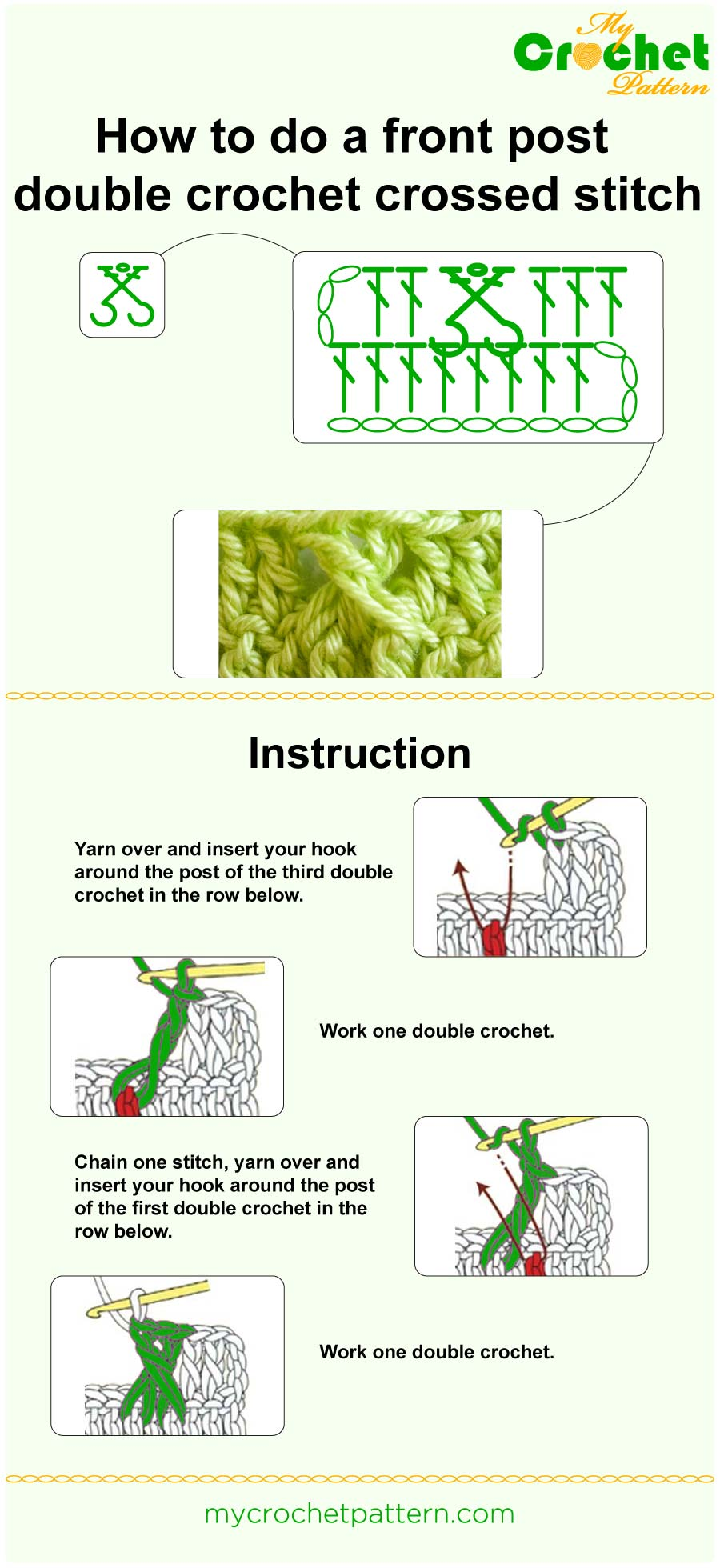 how to do a front post double crochet crossed stitch - infographic