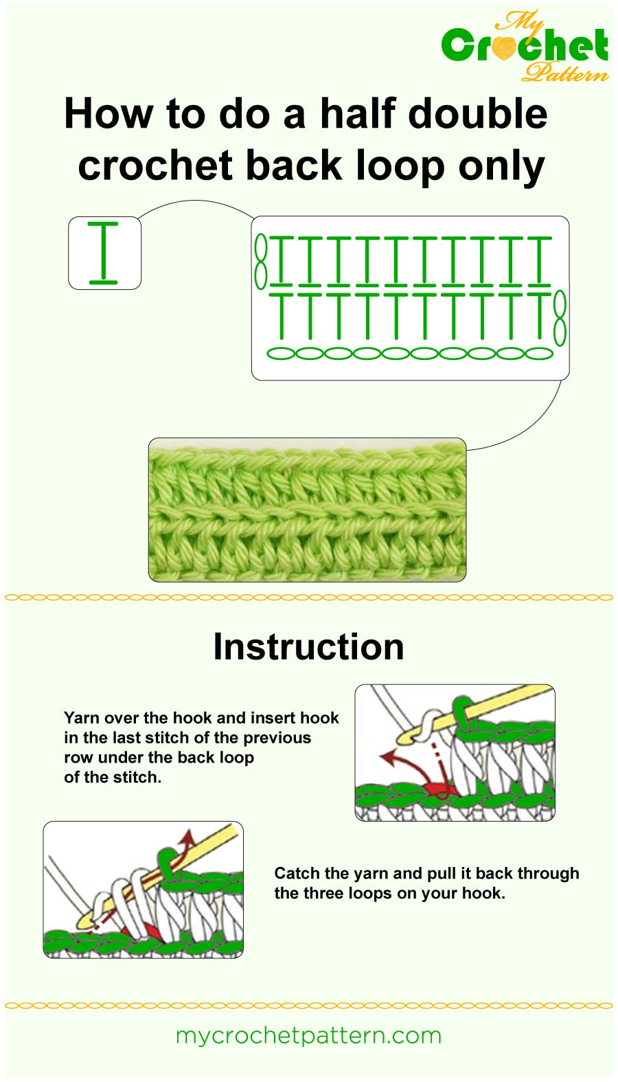 how to do a half double crochet back loop only - infographic