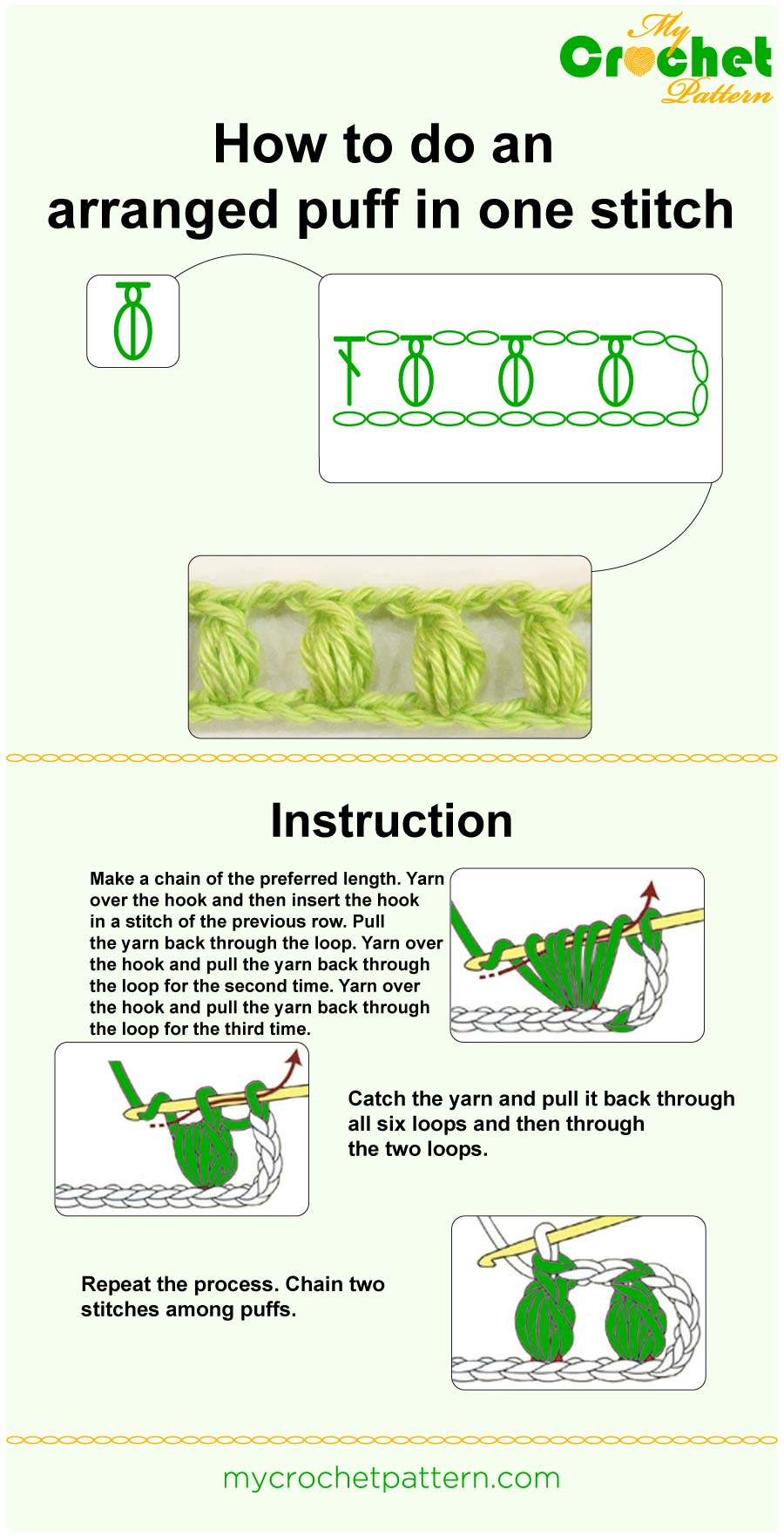 how to do an arranged puff in one stitch - infographic