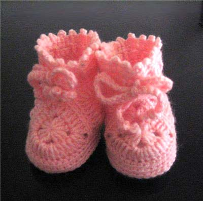 pink baby girl booties crochet pattern - big photo