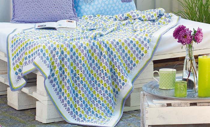 simple multicolor crochet baby blanket - big photo