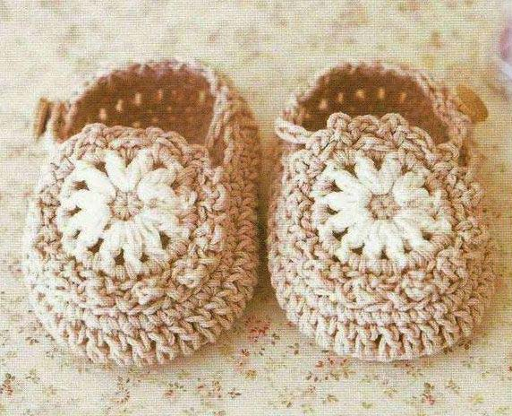 unisex baby booties crochet pattern - big photo