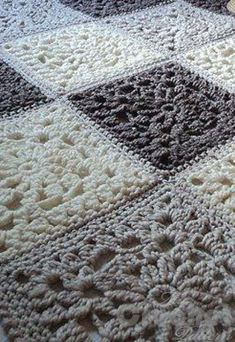 crochet granny square blanket - preview