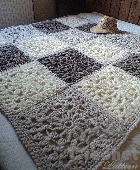 сrochet granny square blanket - big photo