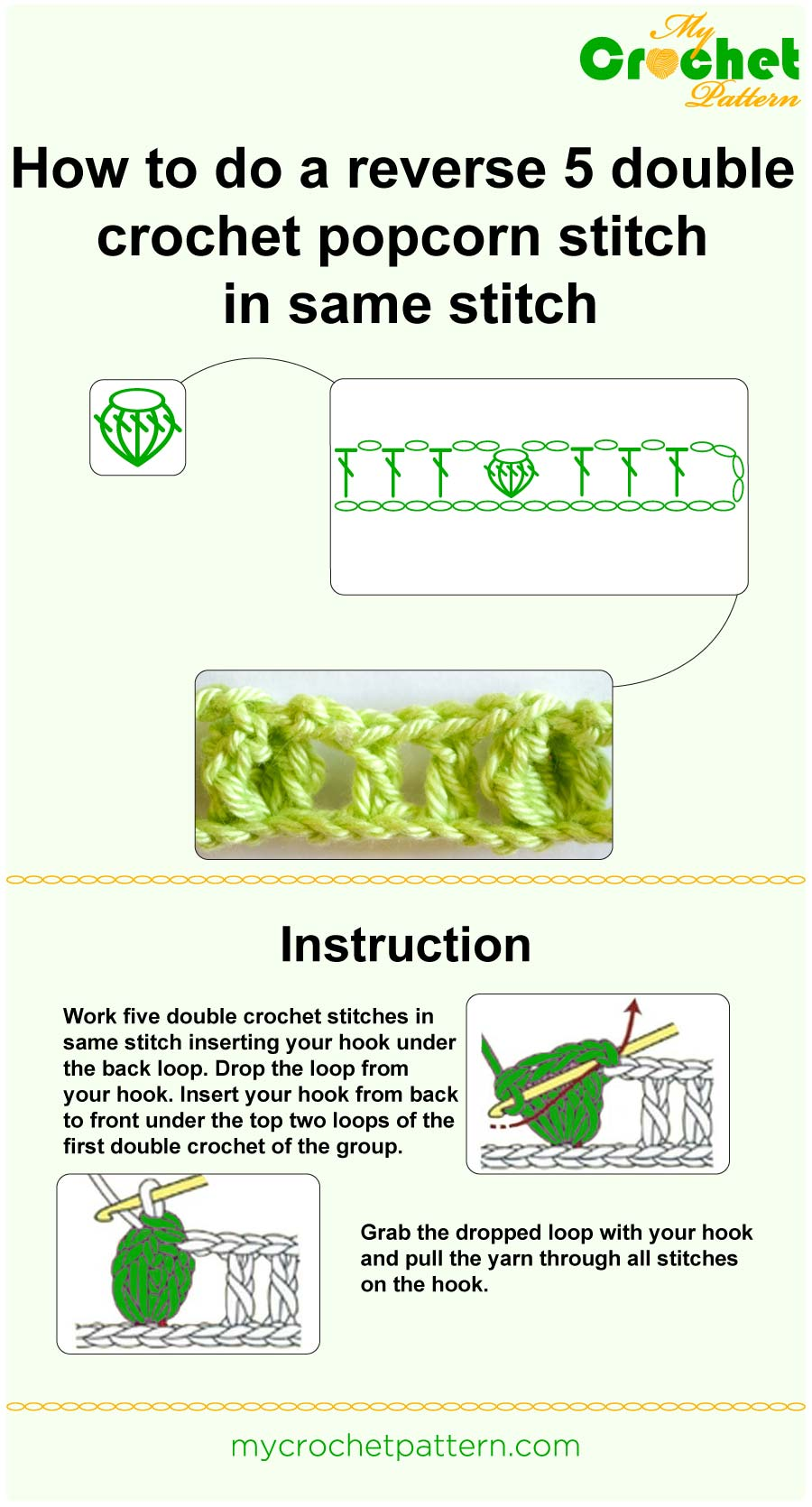 how to do a reverse 5 dc popcorn in same stitch - infographic