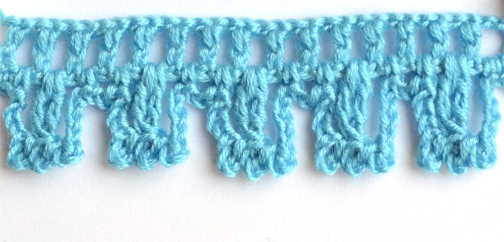 blue fluffy crochet edging