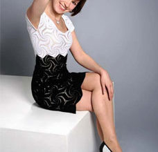 simple black and white crochet dress with motifs - preview