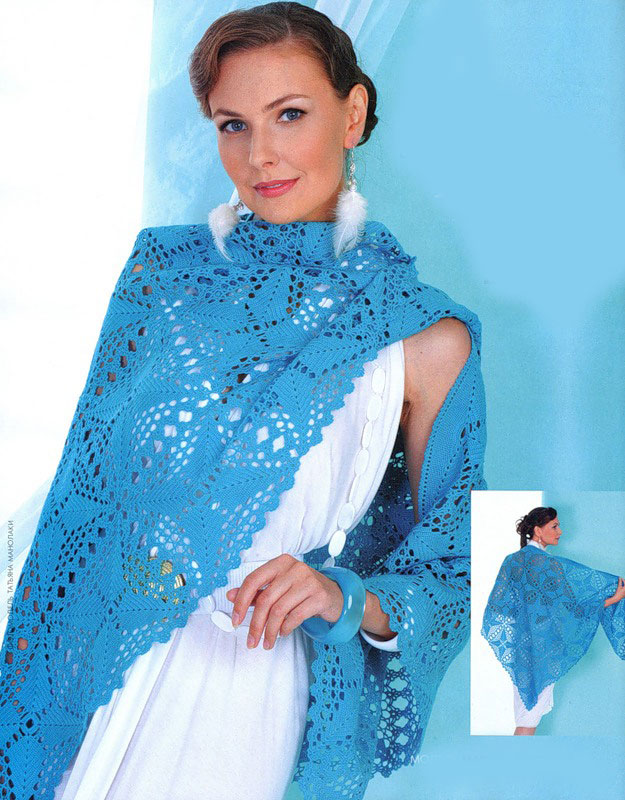 blue crochet shawl pattern with squares - photo