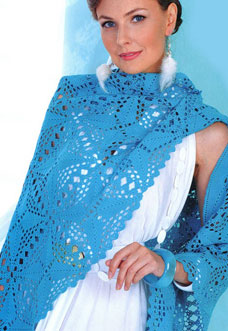 blue crochet shawl pattern with squares - preview