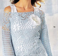 blue crochet sweater with motifs - preview
