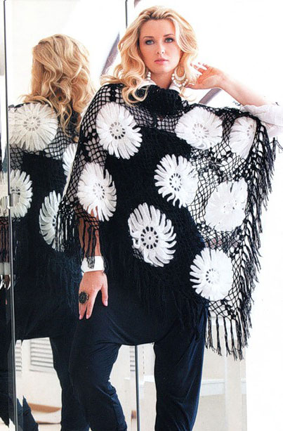 crochet shawl pattern with daisies - photo