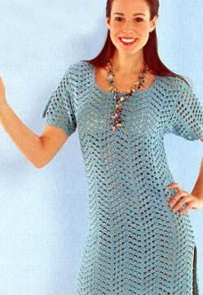 easy blue crochet dress - preview