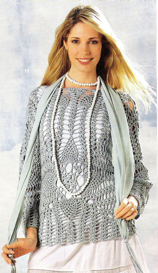 gray crochet sweater - photo