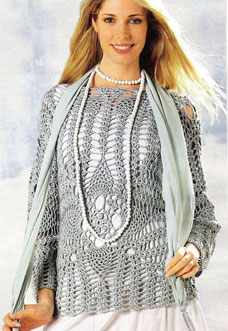 gray crochet sweater - preview