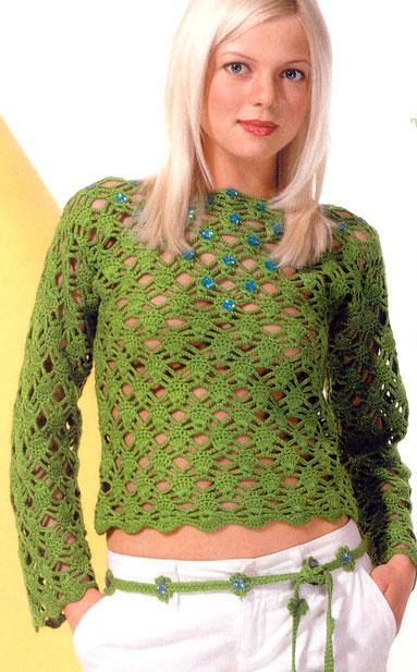 green crochet lace sweater - photo