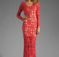 long red crochet dress with motifs - preview