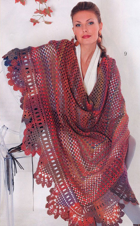multicolor crochet triangle shawl pattern - photo