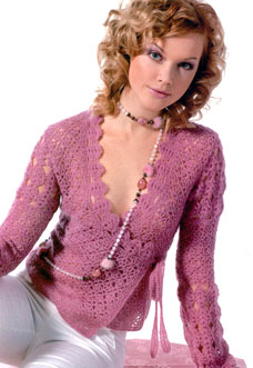 pink crochet lace sweater - preview