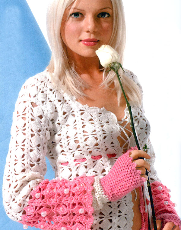white and pink crochet sweater - photo