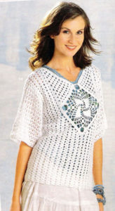white crochet sweater with square - photo