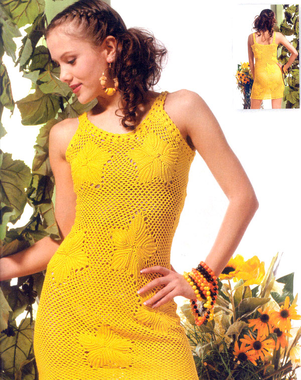 yellow crochet dress - photo