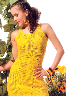 yellow crochet dress - preview