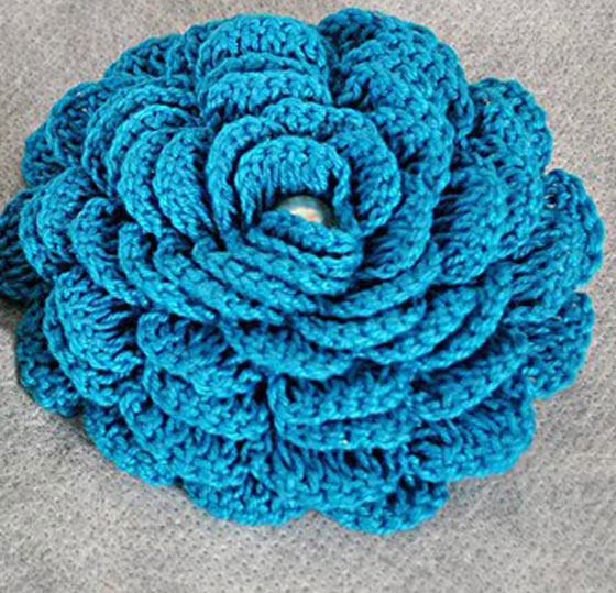 blue crochet rose pattern - photo