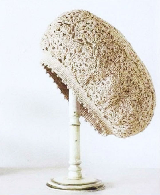 crochet beret pattern with lace motive - photo