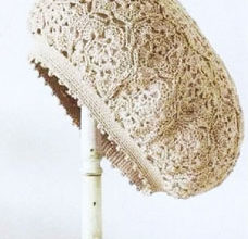 crochet beret pattern with lace motive - preview